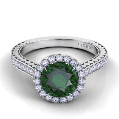 Single Shank Green Tourmaline Diamond Ring