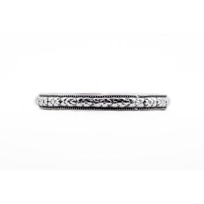 Estate Wedding Band | Gold Platinum | Heavily Engraved | Floral Band