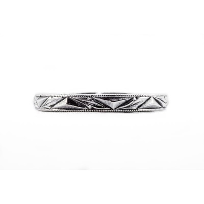 Vintage Wedding Band | Silver | Heavily Engraved | Geometric Design