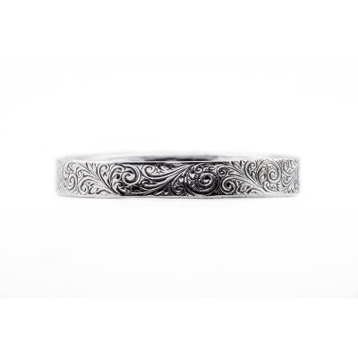 Engagement Wedding Band | Gold Silver Platinum | Running Scrolls