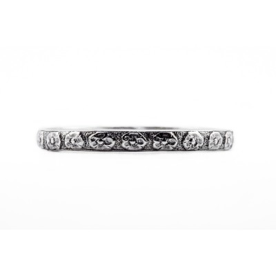 WB080 | Estate Wedding Band | Gold Silver Platinum | Floral Band