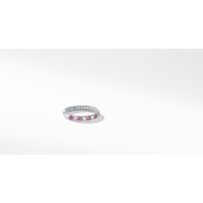 DY Eden Eternity Wedding Band in Platinum with Pink Sapphires and Diamonds