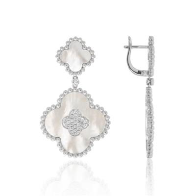 14k White Gold Ladies Earring E02600