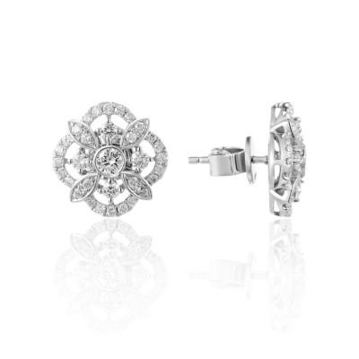 14k White Gold Ladies Earring E02720
