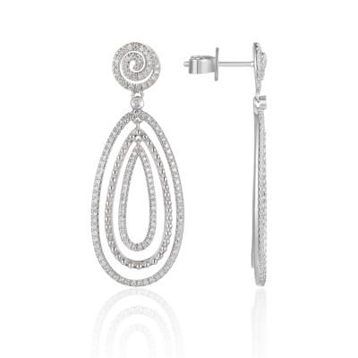 14k White Gold Ladies Earring E03236