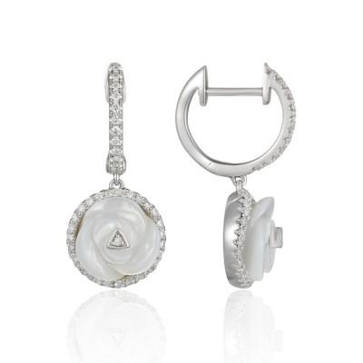 14k White Gold Ladies Earring E03255