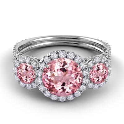 Pink Tourmaline Diamond Ring